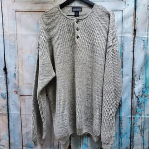 L' Homme Henley Gray Knit Sweater Sz. XXL